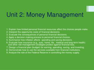 Unit 2: Money  Management