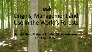 Teak Origins, Management and Use in the World's Forests
