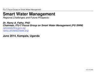 ITU-T Focus Group on Smart Water Management