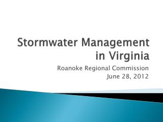 Stormwater Management in Virginia