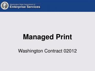 Managed Print Washington Contract 02012