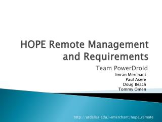 HOPE Remote Management and  Requirements