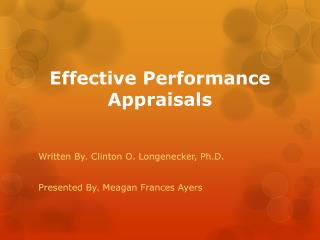 Effective Performance Appraisals