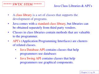java class libraries  api s