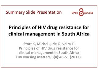 Principles of HIV drug resistance for clinical management in South Africa