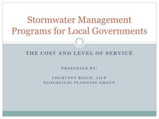 Stormwater Management Programs for Local Governments
