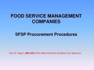FOOD SERVICE MANAGEMENT COMPANIES SFSP Procurement Procedures