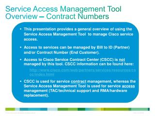 Service Access Management Tool  Overview – Contract Numbers