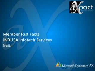 Member Fast Facts INDUSA  Infotech  Services  India