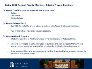 Spring 2012 General Faculty Meeting – Interim Provost Boosinger