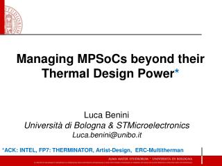 Managing  MPSoCs  beyond their Thermal Design Power *