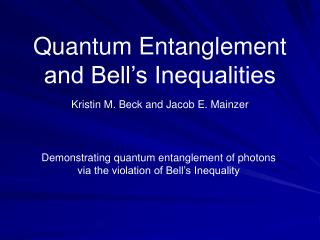 quantum entanglement and bell