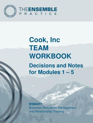 Cook,  Inc TEAM WORKBOOK