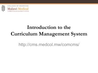 Introduction to the Curriculum Management System