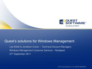 Quest's  solutions  for Windows Management