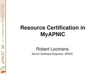 Resource Certification in MyAPNIC