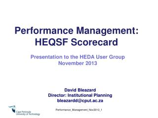 Performance Management: HEQSF Scorecard