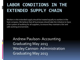Labor Conditions in The Extended  Supply Chain