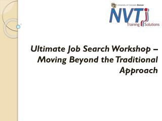 Ultimate Job Search Workshop – Moving Beyond the Traditional Approach