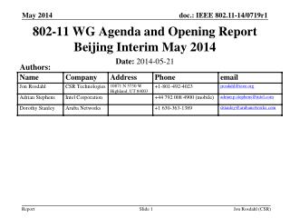 802-11 WG Agenda and Opening Report Beijing Interim May 2014