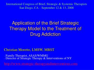 application of the brief strategic therapy model to the treatment of drug addiction