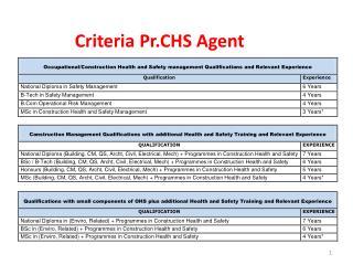 Criteria Pr.CHS Agent