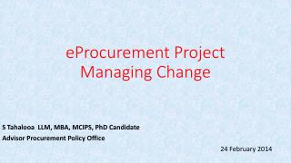 eProcurement  Project Managing Change