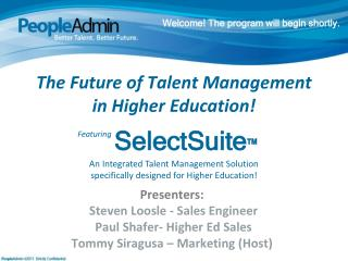 The  Future of Talent Management  in  Higher  Education!