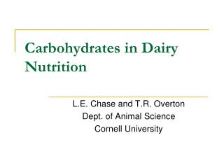 Carbohydrates in Dairy Nutrition