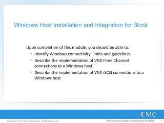 Windows  Host Installation and Integration for Block