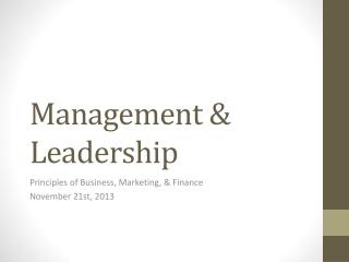 Management & Leadership
