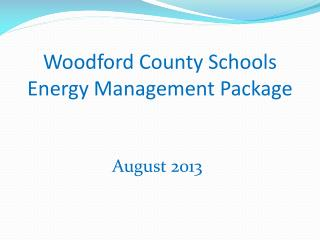 Woodford County Schools Energy Management Package