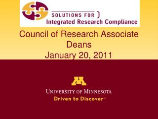 Council of Research Associate Deans January 20, 2011