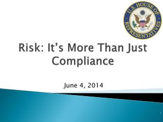 Risk: It�s More Than Just Compliance