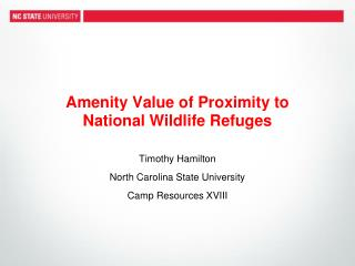 Amenity Value of Proximity to  National Wildlife Refuges