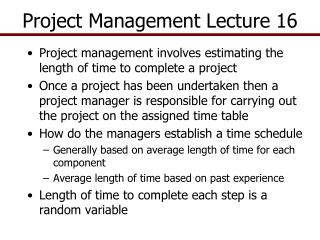 Project Management  Lecture 16