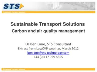 Sustainable Transport Solutions Carbon and air quality management