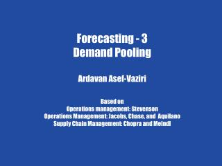 Chapter 7 Demand Forecasting in a Supply Chain