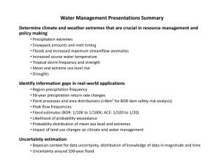 Water Management Presentations Summary