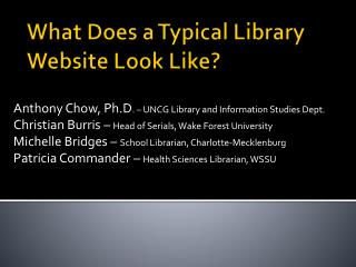 What Does a Typical Library Website Look Like?