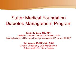 Sutter  Health Sacramento Sierra Region Diabetes Patients
