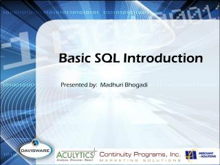 Basic SQL Introduction