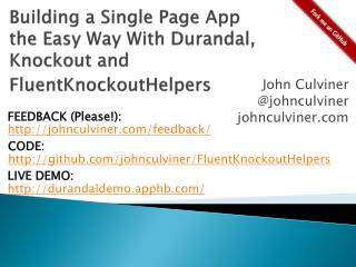 Building a Single Page App  the Easy Way With  Durandal , Knockout and  FluentKnockoutHelpers