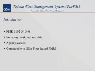 Federal Fleet Management System (FedFMS)
