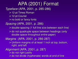 apa 2001 format