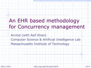An EHR based methodology for Concurrency management