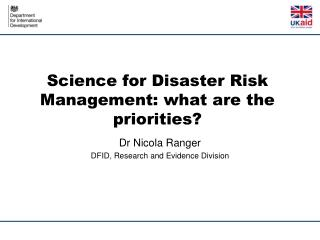 Science for Disaster Risk Management: what are the priorities?