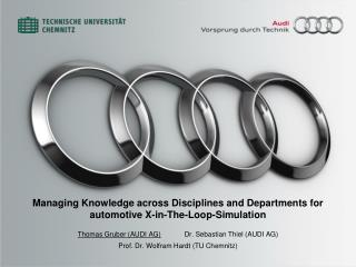 Managing Knowledge across Disciplines and Departments for  automotive X-in-The-Loop-Simulation