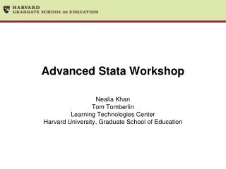 Advanced Stata Workshop
