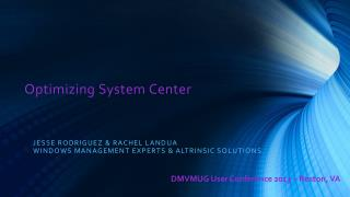 Optimizing System  Center